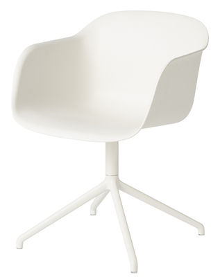 Furniture - Chairs - Fiber Swivel armchair by Muuto - White - Painted steel, Recycled composite material