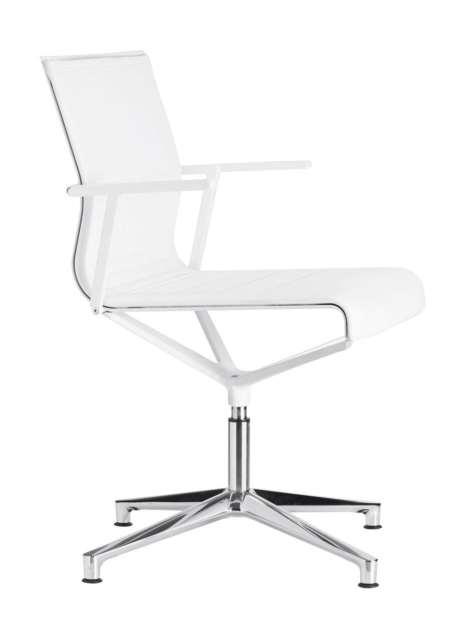 Furniture - Office Chairs - Stick Chair Swivel armchair - 4 legs - Leather seat by ICF - White leather / Polished aluminium base / White lacquered struct - Aluminium, Leather, Thermoplastic
