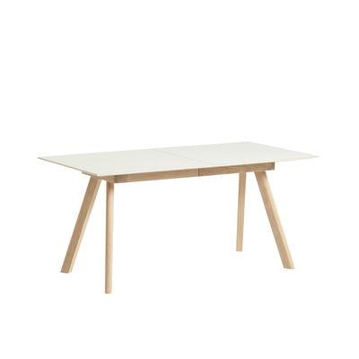 Table à rallonge CPH 30 / L 160 à 310 cm x larg. 80 cm - Linoleum - Hay blanc/bois naturel en matière plastique/bois