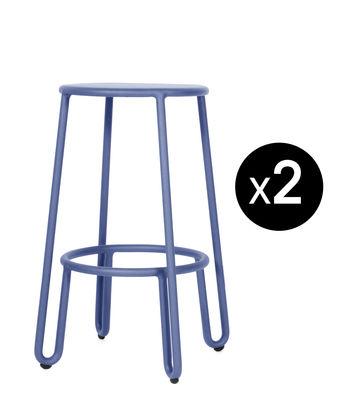 Mobilier - Tabourets de bar - Tabouret de bar Huggy / H 65 cm - Lot de 2 - Maiori - Bleu aube - Aluminium laqué époxy