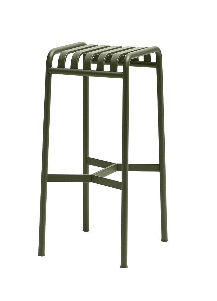 Mobilier - Tabourets de bar - Tabouret de bar Palissade / H 75 cm  - R & E Bouroullec - Hay - Vert olive - Acier électro-galvanisé, Peinture époxy