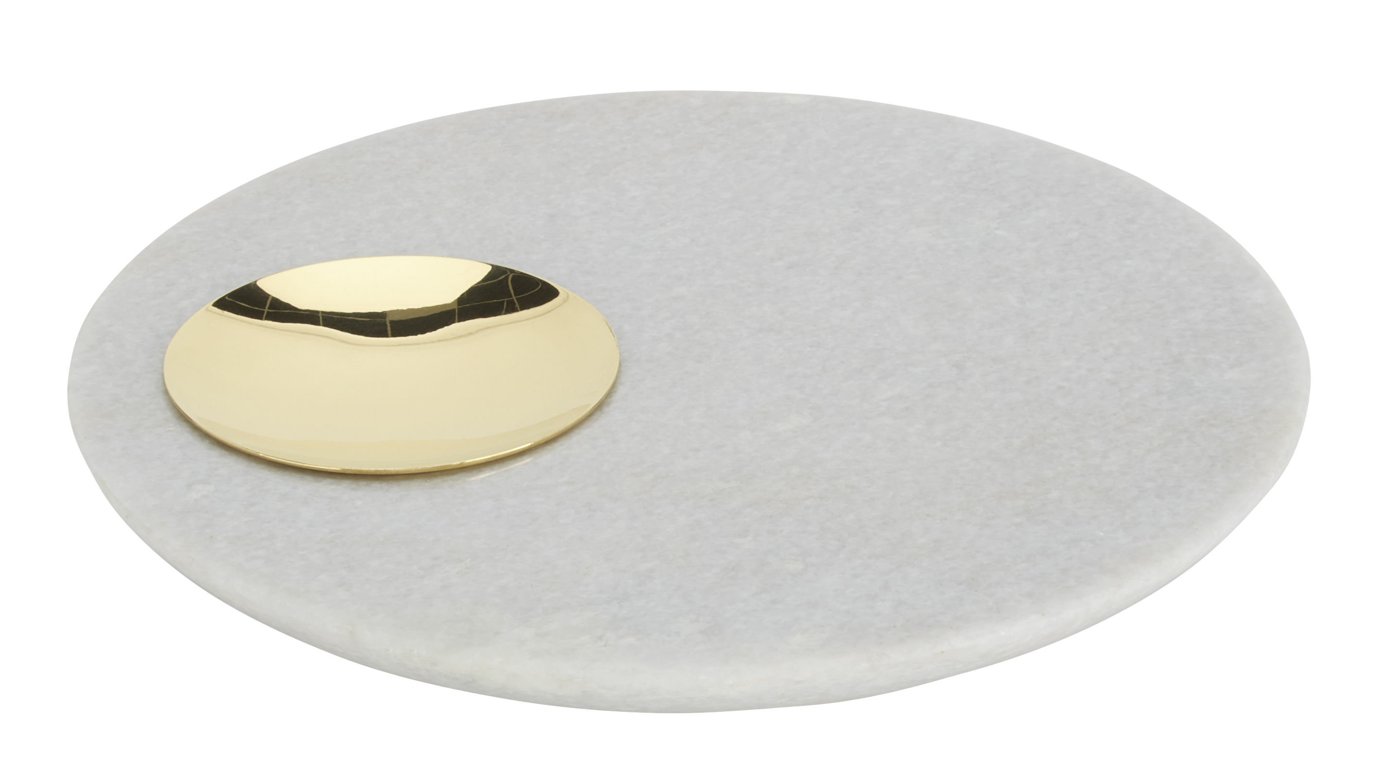 Tableware - Trays - Stone Tray - Ø 20 cm by Tom Dixon - Gold / White marble - Brass, Marble