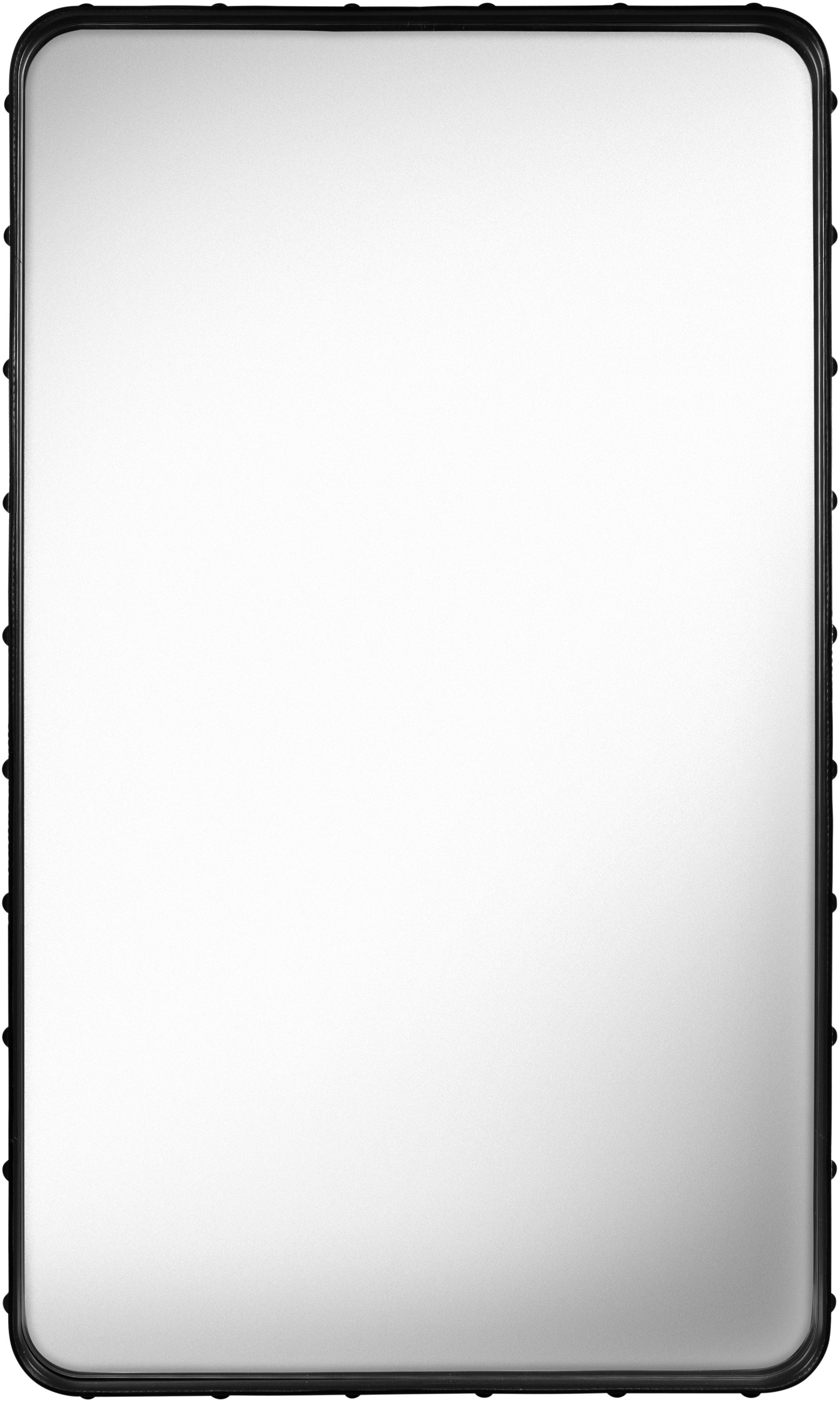 Decoration - Mirrors - Adnet Wall mirror - Rectangular - 115 x 70 cm by Gubi - Black leather - Brass, Leather