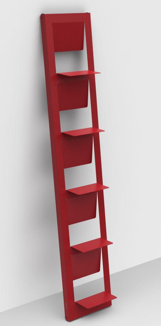 Mobilier - Etagères & bibliothèques - Bibliothèque Pampero / à poser - H 185 cm - Matière Grise - Rouge - Métal