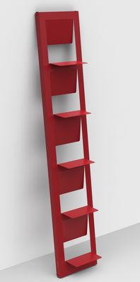 Möbel - Regale und Bücherregale - Pampero Bücherregal / zum Aufstellen - H 185 cm - Matière Grise - Rot - Metall