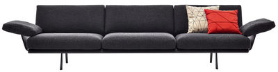Canapé droit Zinta Lounge / 3 places, L 270 cm / Avec accoudoirs - Arper gris/noir en tissu/bois