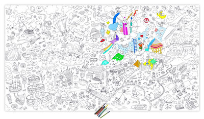 Decoration - Children's Home Accessories - XXL Fantastic Colouring poster - / Giant - L 180 x 100 cm by OMY Design & Play - Black, White - Paper