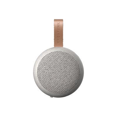 Accessoires - Enceintes audio & son - Enceinte Bluetooth portable aGO CARE / Ø 8 cm - Kreafunk - Gris moucheté - Cuir, Fibre de paille de blé, Plastique, Tissu polyester recyclé