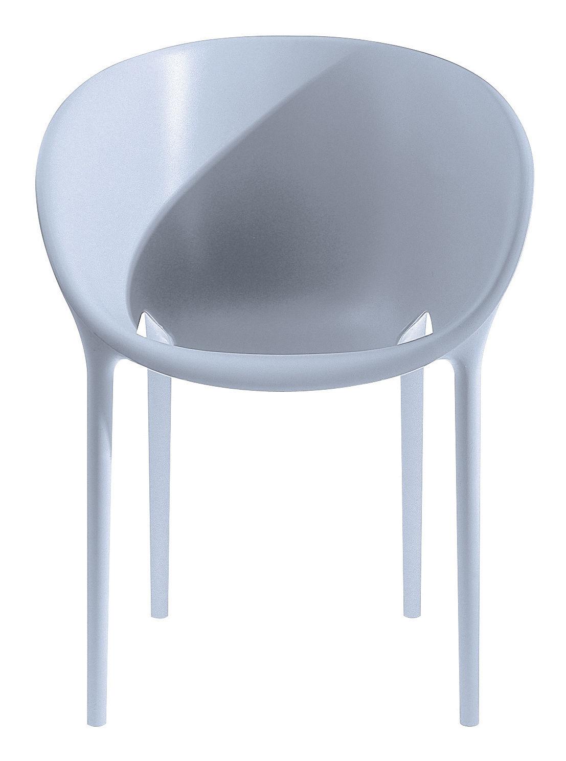 Mobilier - Chaises, fauteuils de salle à manger - Fauteuil empilable Soft Egg / Polypropylène - Driade - Gris - Polypropylène