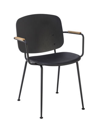 Mobilier - Chaises, fauteuils de salle à manger - Fauteuil Grapp / Métal & bois - Houe - Noir / Chêne - Chêne huilé, Cuir, Métal