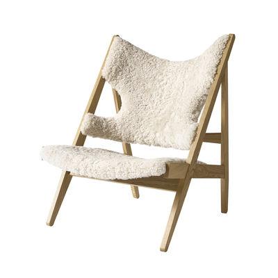 Mobilier - Fauteuils - Fauteuil Knitting / Peau de mouton - Menu - Blanc / Chêne clair - Chêne massif, Mousse, Peau de mouton