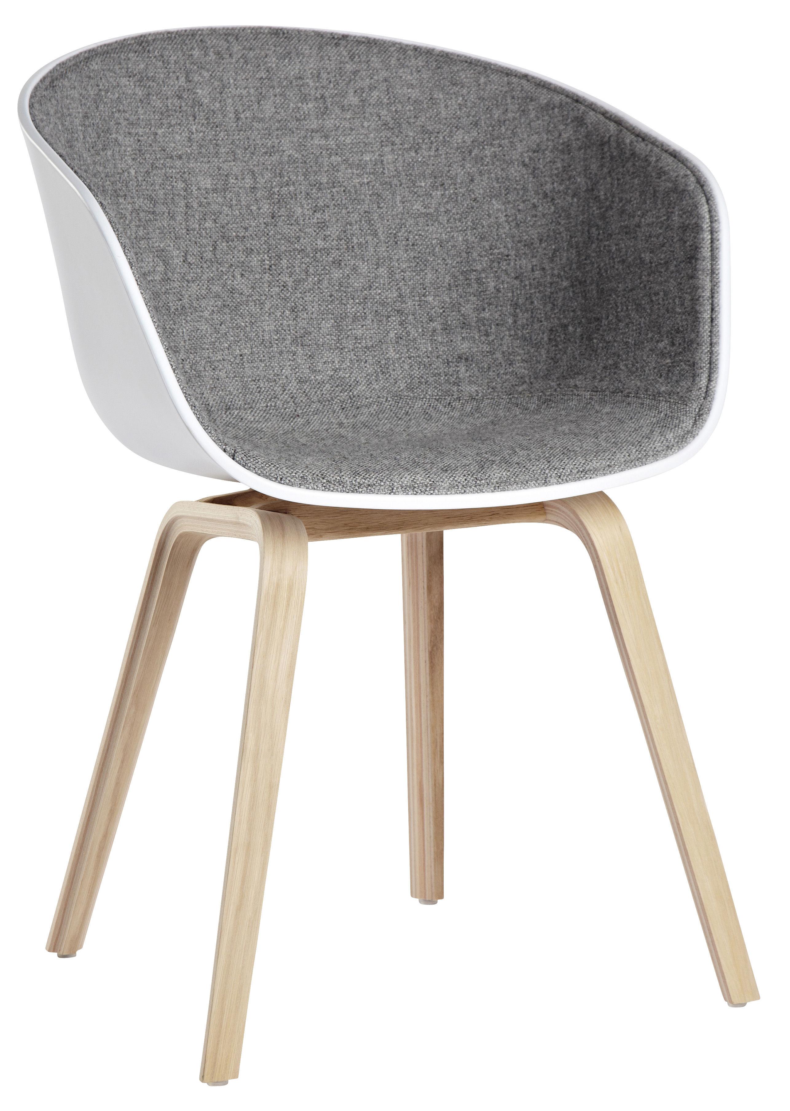 Mobilier - Fauteuils - Fauteuil rembourré About a chair AAC22 /Tissu intérieur & pieds bois - Hay - Blanc & tissu gris clair / Pieds bois naturel - Chêne, Polypropylène, Tissu