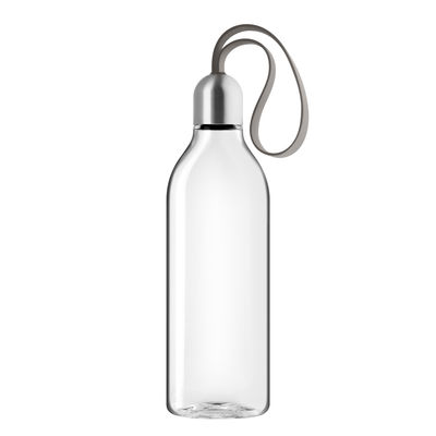 Tableware - Water Carafes & Wine Decanters - Backpack Flask - / 0.5 L - Ecological plastic travel bottle by Eva Solo - Taupe - Ecological plastic, Steel, Textile