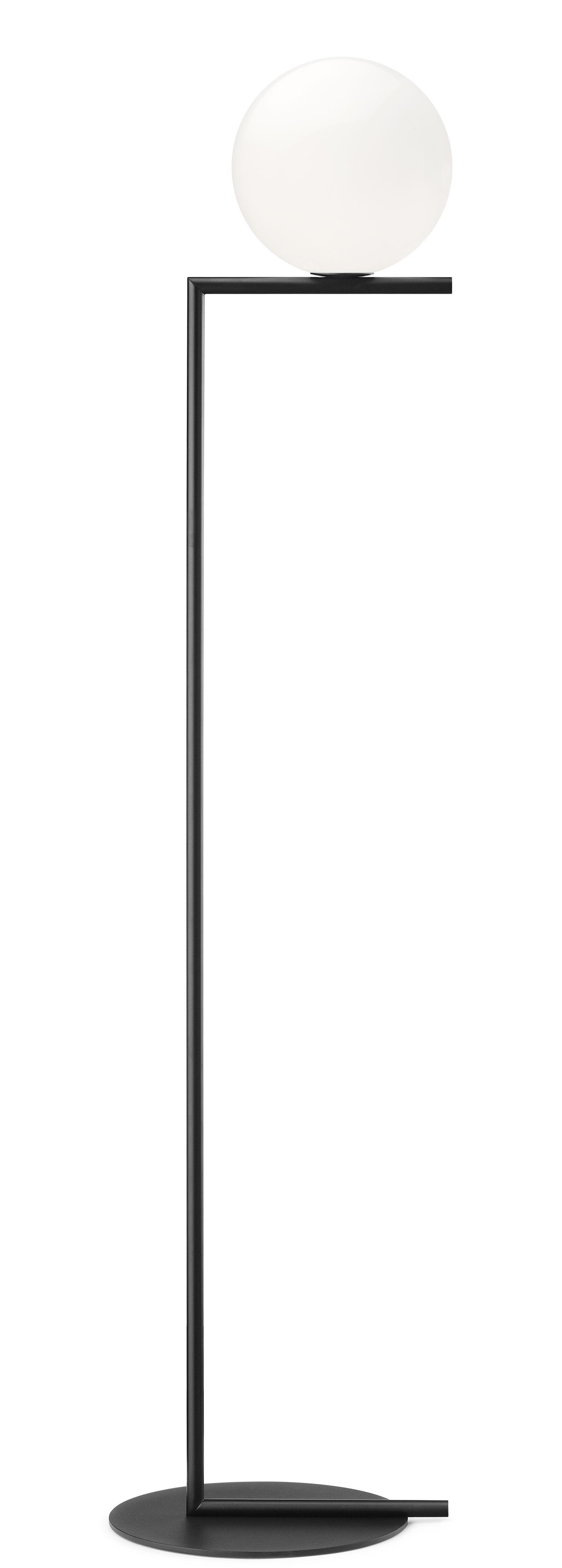 Lighting - Floor lamps - IC F1 Floor lamp - / H 135 cm by Flos - Black - Blown glass, Varnished steel
