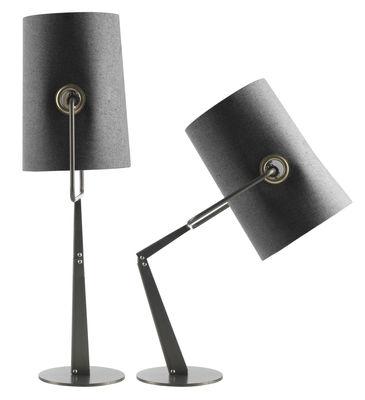 Luminaire - Lampes de table - Lampe de table Fork - Diesel with Foscarini - Gris / Pied marron - Métal anodisé, Tissu