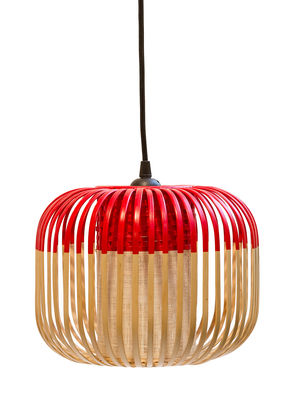 Lighting - Pendant Lighting - Bamboo Light XS Pendant - H 20 x Ø 27 cm by Forestier - Red / Natural - Fabric, Metal, Natural bamboo