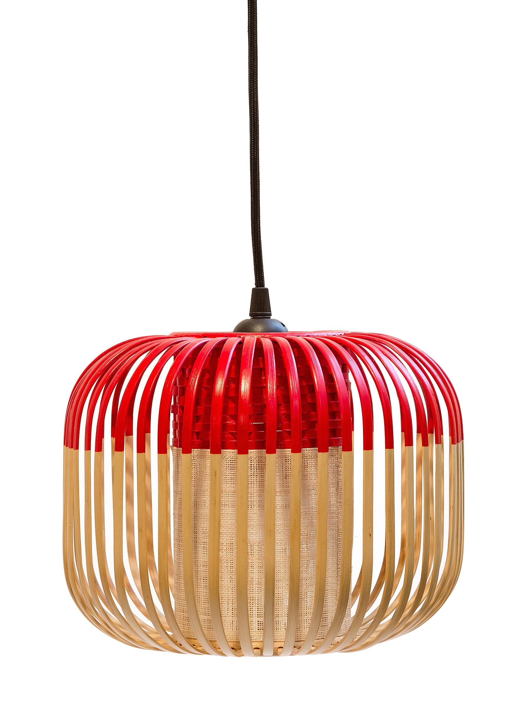 Leuchten - Pendelleuchten - Bamboo Light XS Pendelleuchte / H 20 cm x Ø 27 cm - Forestier - Rot / natur - Gewebe, Metall, Naturbambus