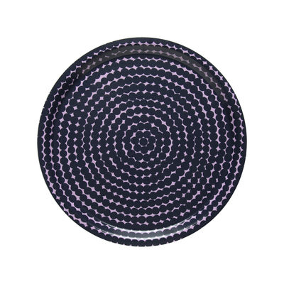 Tavola - Vassoi  - Piano/vassoio Räsymatto - / Ø 31 cm di Marimekko - Räsymatto / blu scuro & rosa - Laminato di betulla
