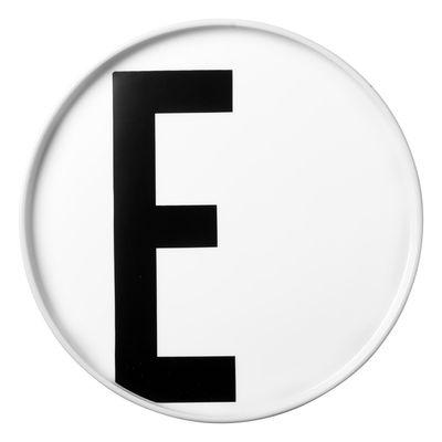 Tavola - Piatti  - Piatto A-Z / Porcellana - Lettera E - Ø 20 cm - Design Letters - Bianco / Lettera E - Porcellana cinese