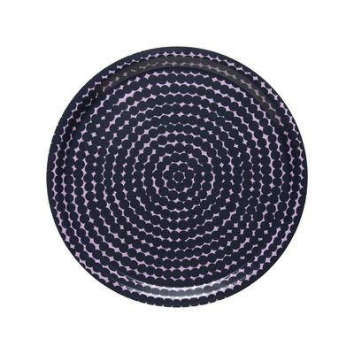Arts de la table - Plateaux - Plateau Räsymatto / Bois - Ø 31 cm - Marimekko - Räsymatto / Bleu foncé & rose - Laminé de bouleau
