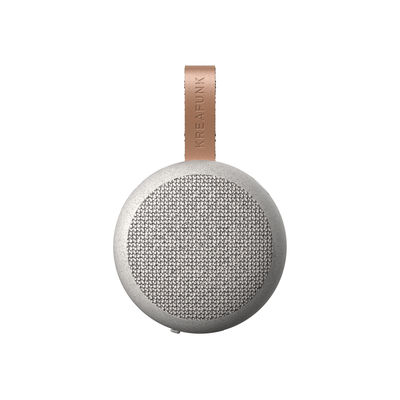 Accessories - Speakers & Audio - aGO CARE Portable Bluetooth speaker - / Ø 8 cm by Kreafunk - Speckled grey - Leather, Plastic, Recycled polyester fabric, Wheat straw fibre