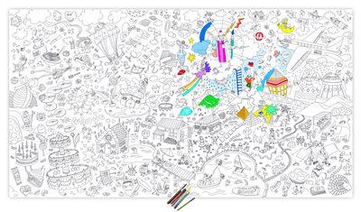 Poster à colorier XXL Fantastic / 180 x 100 cm - OMY Design & Play blanc,noir en papier