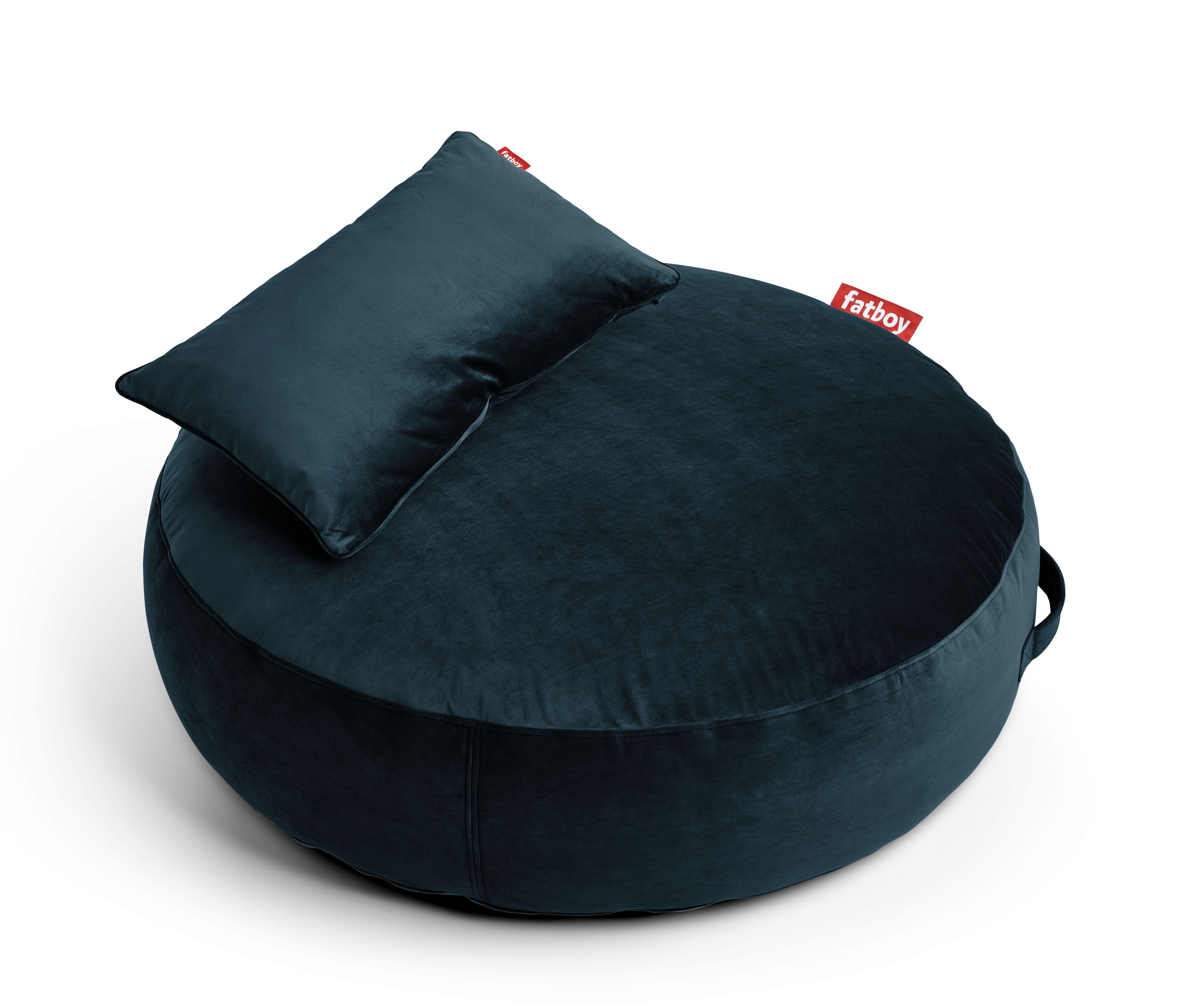 Mobilier - Poufs - Pouf Pupillow Velvet / Velours - Ø 120 cm - Fatboy - Bleu pétrole -  Micro-billes EPS, Mousse, Velours polyester