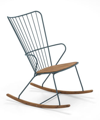 Rocking chair Paon / Métal & bambou - Houe vert/bois naturel en métal/bois