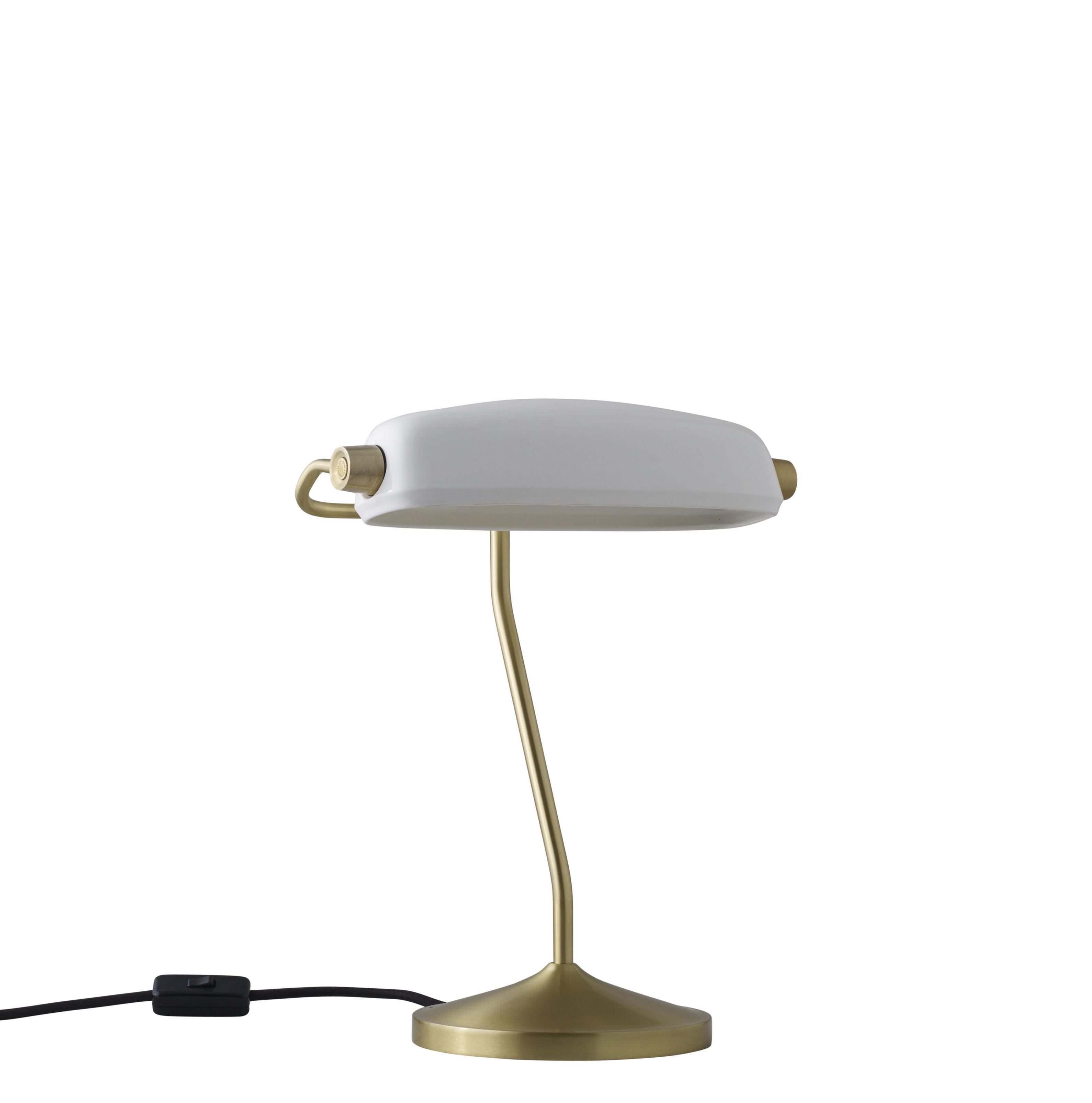 Leuchten - Arbeitsleuchten - Bankers Schreibtischlampe / handgefertigt - H 41 cm - Original BTC - Messing / Porzellan - Messing, Porzellan