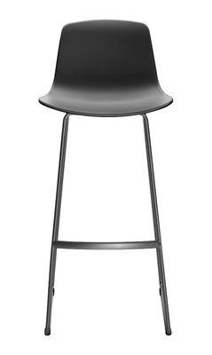 Image of Sedia da bar Lottus - Base d'appoggio a slitta di Enea - Grigio/Nero - Metallo/Materiale plastico