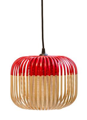 Image of Sospensione Bamboo Light XS - / H 20 x Ø 27 cm di Forestier - Rosso/Legno naturale - Metallo/Tessuto/Legno