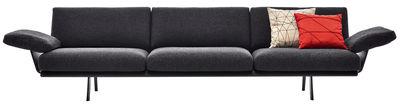 Furniture - Sofas - Zinta Lounge Straight sofa - 3 seats - L 270 cm / Armrests by Arper - Anthracite - Structure : Noir - Foam, Kvadrat fabric, Metal, Wood