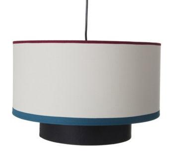 Luminaire - Suspensions - Suspension Bianca / Coton - Ø 38 cm - Maison Sarah Lavoine - Ecru & biais rouge & bleu / Noir - Coton