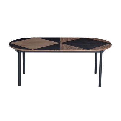 Tendances - Autour du repas - Table à rallonge Tavla / Ovale - L 200-300 cm / Marqueterie de noyer - Petite Friture - Noyer & noir - Acier laqué, Noyer