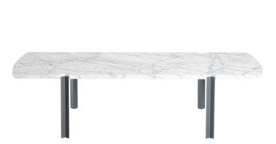 Table basse Quattro Cantoni / Marbre & acier - 130 x 60 cm - Objekto blanc/gris en pierre
