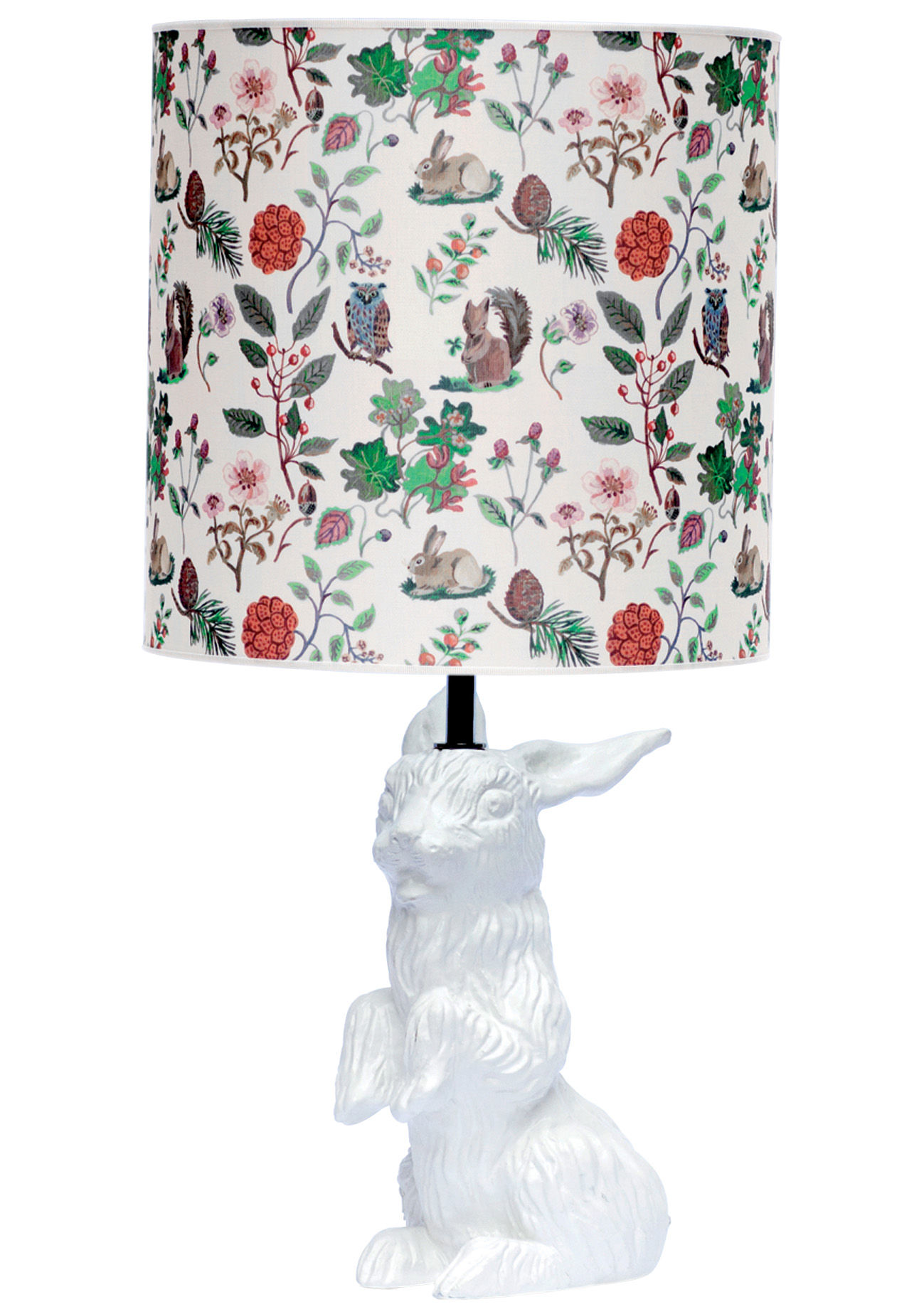 Decoration - Children's Home Accessories - Jeannot Lapin Table lamp - With printed lampshade by Domestic - White rabbit - Autumn shade - Enamled terracotta, Silkscreen printed cotton