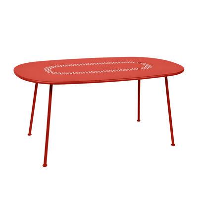 Jardin - Tables de jardin - Table ovale Lorette / 160 x 90 cm - Métal perforé - Fermob - Capucine - Acier laqué