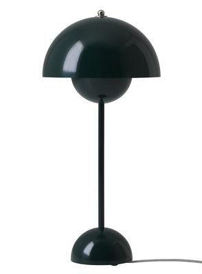 Leuchten - Tischleuchten - FlowerPot VP3 Tischleuchte / H 49 cm - &tradition - Dunkelgrün - lackiertes Aluminium