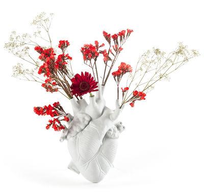 Vase Love in Bloom / Coeur humain - Seletti blanc en céramique