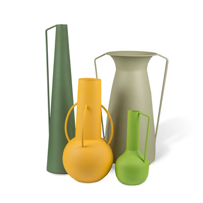Decoration - Home Accessories - Roman Vase - / Set of 4 - Metal (decorative use only) by Pols Potten - Green hues - Epoxy lacquered iron, Matte sandblasted finish