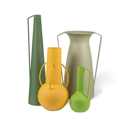 Interni - Oggetti déco - Vaso Roman - / Set di 4 - metallo (solo uso decorativo) di Pols Potten - Toni Verdi - Ferro laccato epossidico, Finitura sabbiata opaca