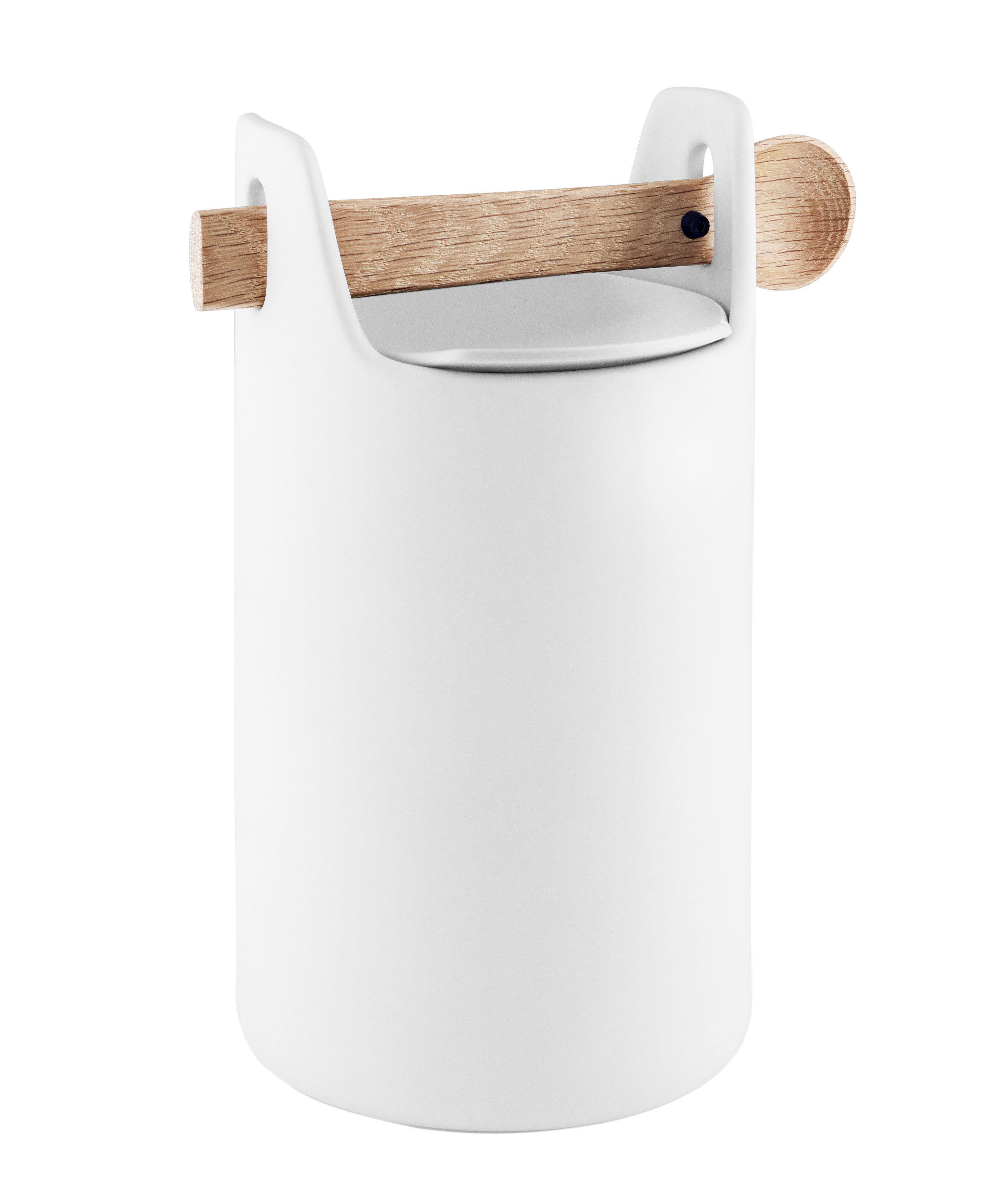 Kitchenware - Kitchen Storage Jars - Toolbox Large Airproof jar - / Wooden lid & spoon by Eva Solo - White / Oak - Ceramic, Silicone, Solid oak