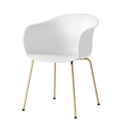 Furniture - Chairs - Elefy JH28 Armchair - / Polypropylene by &tradition - White/Brass legs - Polypropylene, Steel