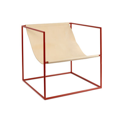 Furniture - Armchairs - Solo Seat Armchair - / Leather by valerie objects - Beige leather / Red structure - Leather, Steel