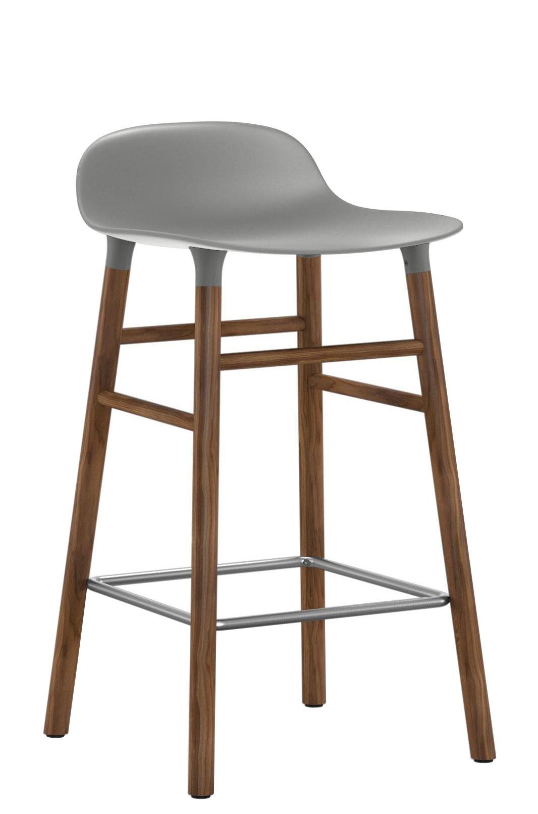 Furniture - Bar Stools - Form Bar stool - H 65 cm / Walnut leg by Normann Copenhagen - Grey /  walnut - Polypropylene, Walnut