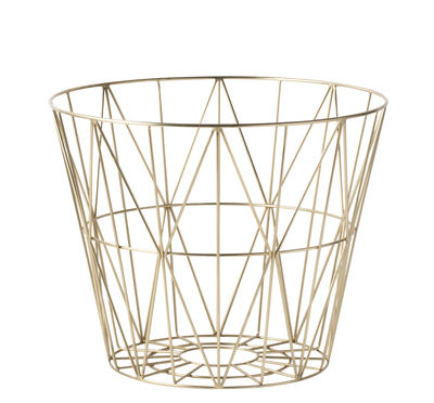 Decoration - Centrepieces & Centrepiece Bowls - Wire Small Basket - Ø 40 x H 35 cm by Ferm Living - Brass - Brass plated metal