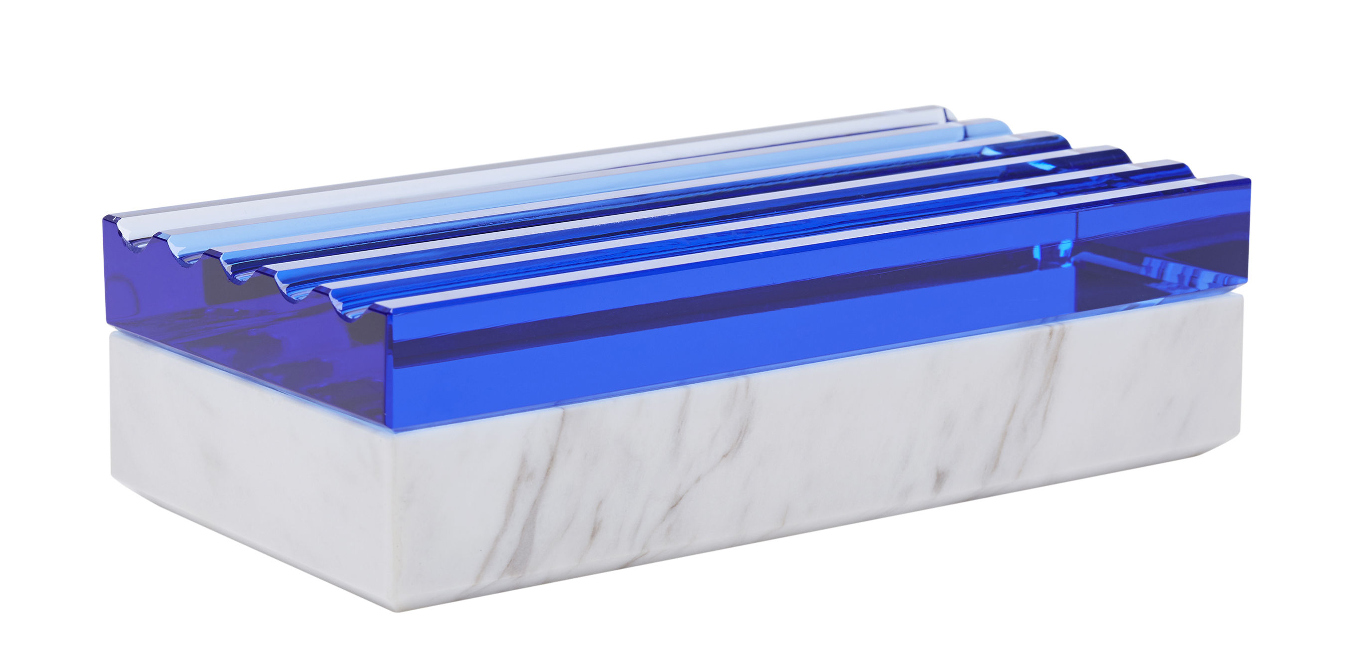 Accessories - Bathroom Accessories - Lid Scallop Box - 17 x 8 x H 4,5 cm - Marble & glass by Tom Dixon - White marble/ Blue - Glass, Marble