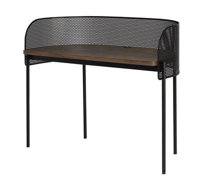Mobilier - Bureaux - Bureau Shelter / Acier perforé - L 125 cm - Northern  - Noir / chêne fumé - Contreplaqué de chêne fumé
