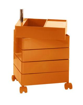 Mobilier - Mobilier Ados - Caisson à roulettes 360° / 5 tiroirs - Magis - Orange - ABS laqué, Aluminium