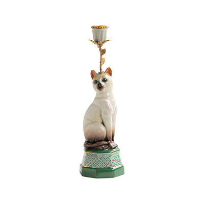 Decoration - Candles & Candle Holders - Siamois Candle stick - / Porcelain & brass H 31.5 cm by & klevering - Siamese - Brass, China